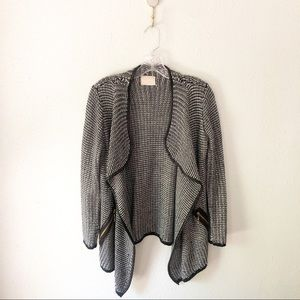 Peace Dove Black and White Marled Sweater